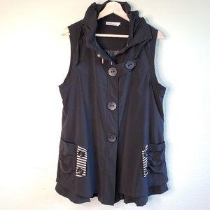 DZhavael Couture Black Long Vest Coat G20